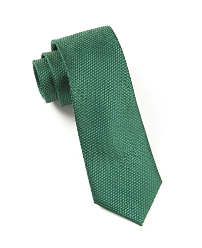 The Tie Bar 100% Woven Silk Hunter Green Grenafaux Solid Textured ()