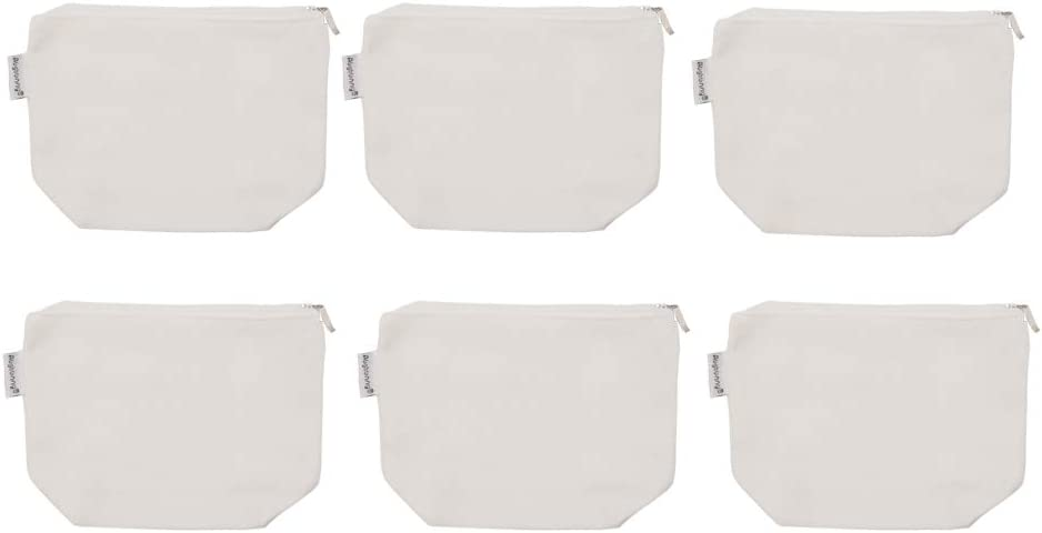 Augbunny 100 Cotton 12oz Canvas Zipper Cosmetic Makeup Jewlery Pouch Coin Cash Purse Change Holder 6-Pack