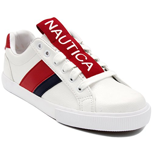 Nautica Steam Women Lace - Up Fashion Sneaker Casual Shoes -Steam Tape-Red Tape-8.5