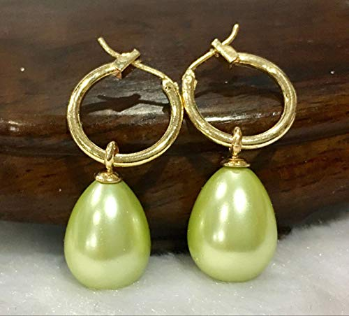 1 Pair 12x16MM Green South SEA Shell Pearl Dangle Earring 14K Gold Plated -