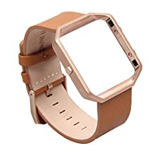 V-MORO for Fitbit Blaze Band, Large Leather Bracelet Strap Replacement Band with Metal Frame For Fitbit Blaze Smart Fitness Watch (Leather Camel&Metal Frame Rose Gold - Large)