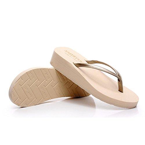 SHANGXIAN playa de las mujeres con zapatillas antideslizantes finas sandalia de la cuña Yellow