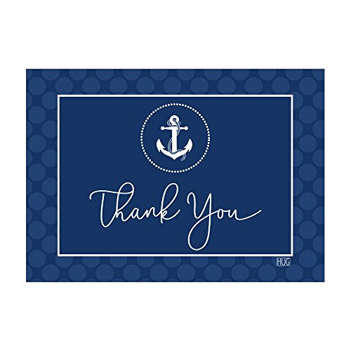 Set of 12 Thank You Notes and Envelopes with Nautical Anchor in Navy Blue CTY018