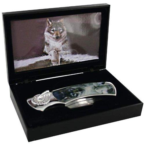 Maxam Lockback Knife with Decorative Wolf Inlay in Display Box, Outdoor Stuffs