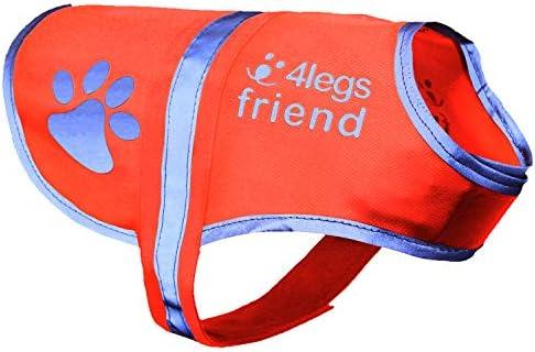 4LegsFriend Hunde Sicherheitsweste (5 Größen) - Hohe Sichtbarkeit für Outdoor Aktivitäten Tag und Nacht, Hält den Hund Sichtbar, Sicher vor Autos & Jagtunfällen | Hunde Warnweste Orange