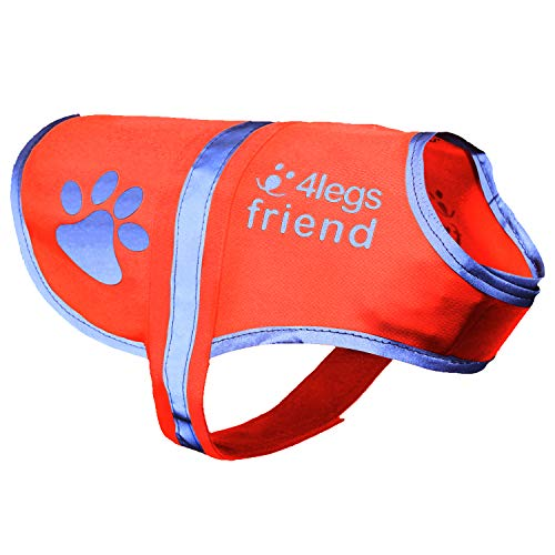 4LegsFriend Dog Safety Reflective Vest (5 Sizes, Large) - High Visibility for Outdoor Activity Day and Night, Keep Your Dog Visible - Safe from Cars & Hunting Accidents | Blaze Orange