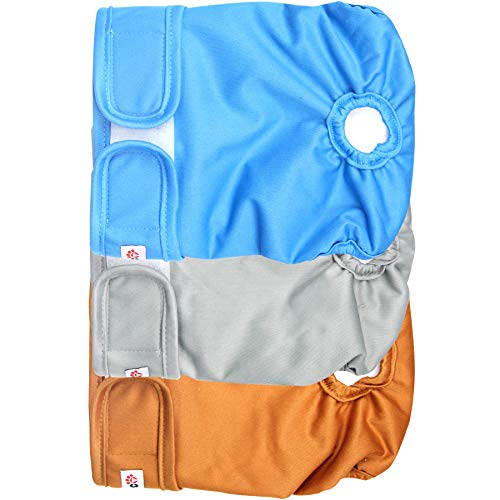 Wegreeco Washable Reusable Premium Dog Diapers, Large, Natural Color, for Female Dog, Pack of 3 ()