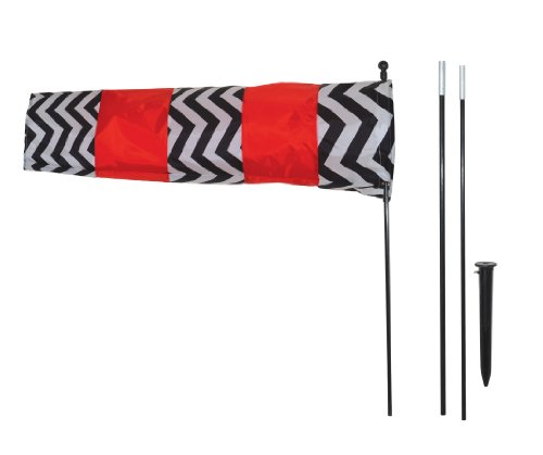 (In the Breeze 4884 Red and Black Directional Windsock with 8' Pole White)