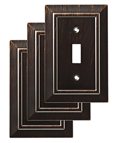 Bronze Plate Single Wall Switch (Franklin Brass W35217V-VBR-C Classic Architecture Single Switch Wall Plate/Switch Plate/Cover (3 Pack), Venetian Bronze)