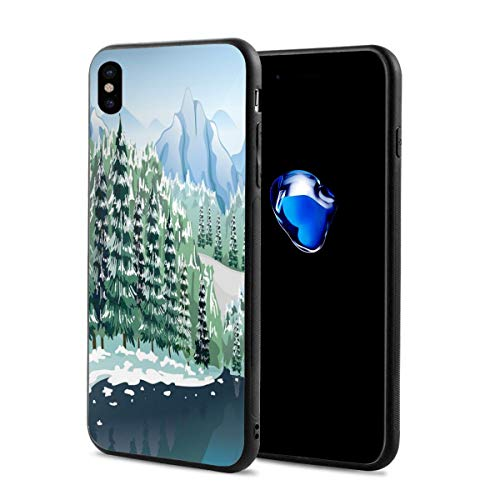Phone Case Cover Compatible with iPhone X XS,Wildwood in Winter Season with Snowy Mountains and Frozen River Cartoon Style,Compatible with iPhone X/XS 5.8