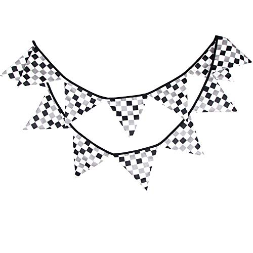 10 Feet Black & White Checkered Plaid Racing Flag Party Banner Cotton Fabric Pennant Bunting for Race Car Theme Party Wedding Birthday Sports Nursery Dorm Hanging Decoration]()