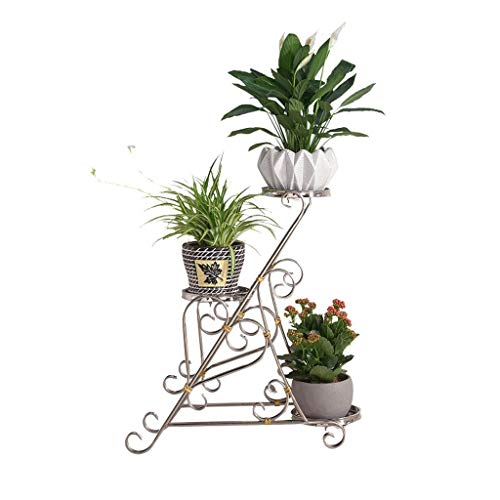 (Aoxishiye Potted Plant Stand Stainless Steel Wrought Iron Multi-Layer Indoor Living Room Simple and Modern Floor-Standing Green Rosette Orchid Stand Green Plant Shelf Flower Pot Racks)