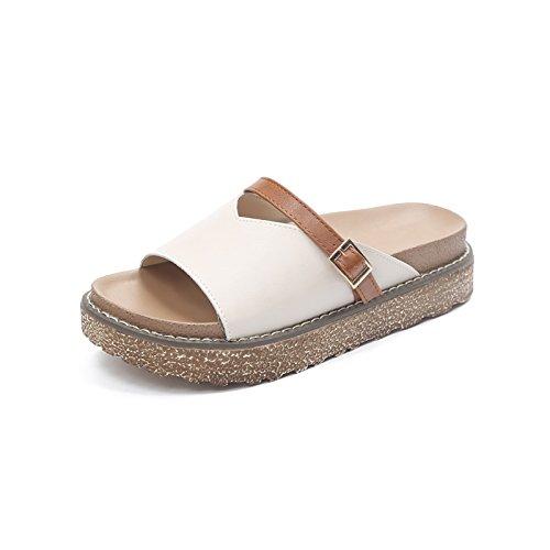 Ajunr Moda/elegante/Transpirable/Sandalias Bizcocho Zapatillas wild Casual Flip-Flops Blanca 3cm de espesor 37 38