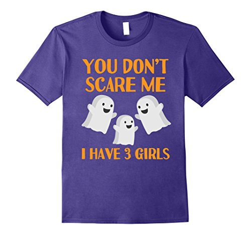 Mens Funny Mom Dad Parents of 3 Daughters Halloween Shirt 3XL Purple (Mom Dad And Daughter Halloween Costume Ideas)