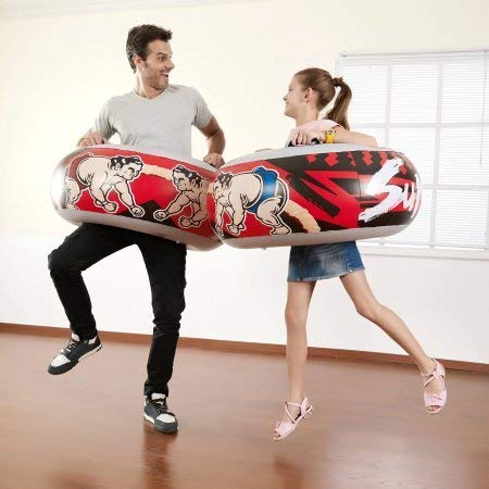 Jumbo Inflatable Sumo Wrestling Match Intertube Bouncing Boppers, Red and Black (Set of Two Sumo Innertubes)