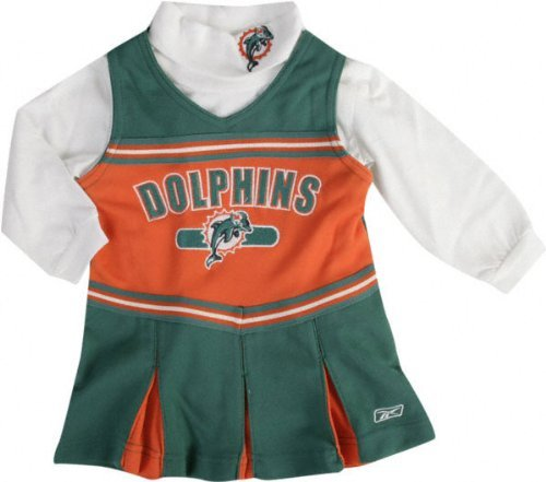 [NFL Girls 7-16 2 Piece Cheerleader Jumper with Turtleneck Outfit (Girls Xlarge 16, Miami Dolphins)] (Cheerleader Outfit For Girls)
