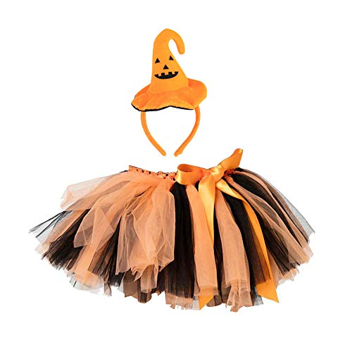 TRADERPLUS Girls Halloween Spider Web Tutu Ballet Skirt with Witch Headband Costume Party (Orange (Small / 1-3 Years)) ()