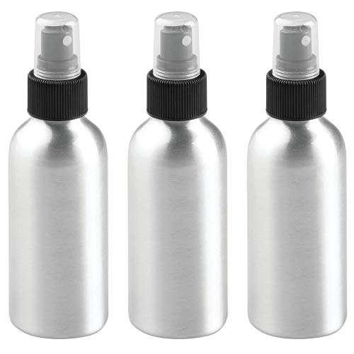 mDesign Aluminum Empty Refillable Spray Bottle - Rust Free - Mister Pump for Watering Plants, Essential Oils, Cleaning Product Solutions, Aromatherapy - Small, Holds 4 oz. - 3 Pack - Brushed/Black