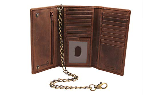 Men's New Cow Leather Crazy Horse Brown Long Checkbook Trifold Stainless Bronze Chain Wallet R.F.I.D Signal Blocking Bikers - Chain Mens Wallet