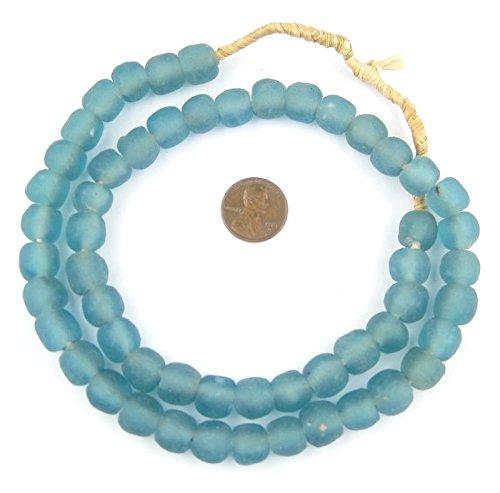 African Recycled Glass Beads - Full Strand Eco-Friendly Fair Trade Sea Glass Beads from Ghana Handmade Ethnic Round Spherical Tribal Boho Krobo Spacer Beads - The Bead Chest (11mm, Light Blue) (Ethnic Light)