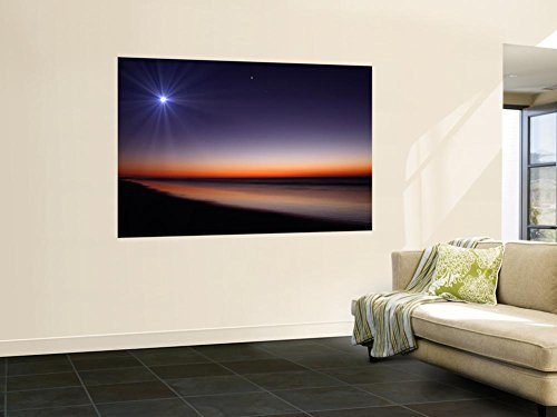 The Moon and Venus at Twilight from the Beach of Pinamar, Argentina Wall Mural by Stocktrek Images 48 x - Argentina Ray
