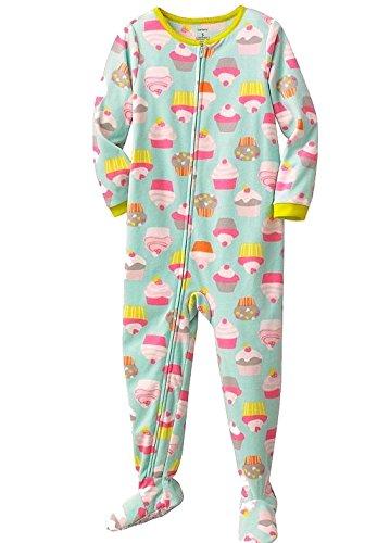 CARTER'S Girl's Size 4T Aqua Green Fleece Footed Cupcake Pajama Sleeper