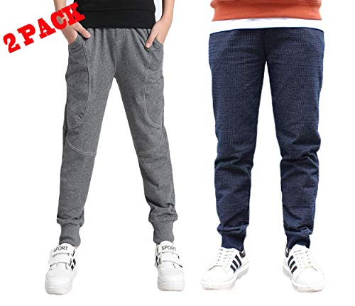 Boy's Cotton Sweatpants Adjustable Waist Jogger Pants Trousers in Basic Colors, 6=Tag Size 130, Grey&Navy