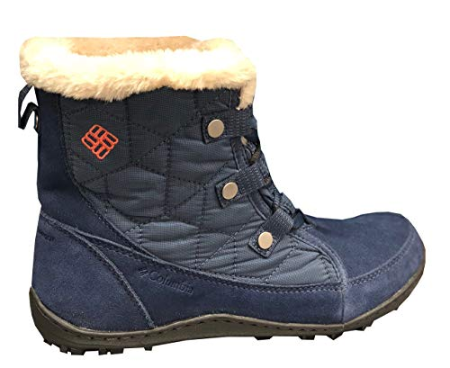 Summit Mountain Boot - Columbia Womens Powder Summit Shorty Waterproof Boots Insulated Bootie (9.5, Dark Mountain/melonade)