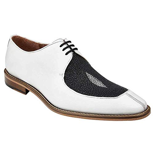 Belvedere Mario Black & White Genuine Stingray and Italian Calf Men's Oxford Shoes - 11.5