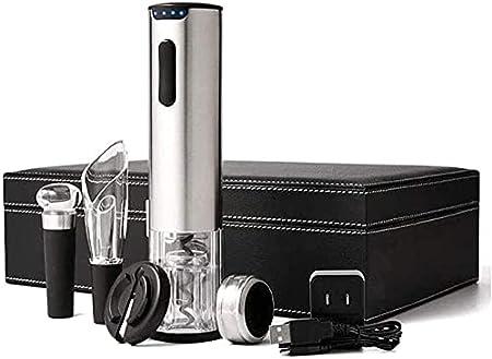 Sacacorchos de vino eléctrico, sacacorchos de vino automático recargable, con cuchillo de aluminio y cable de carga USB, vertedor de vino, tapón de vino al vacío