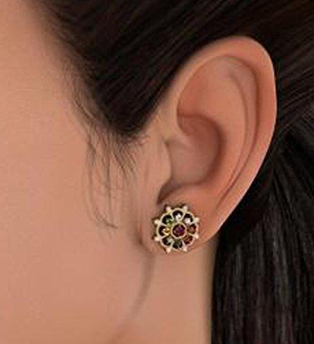 14K Or jaune 0,3CT TW White-diamond (IJ | SI) et rubis et Navaratna Boucles d'oreille à tige