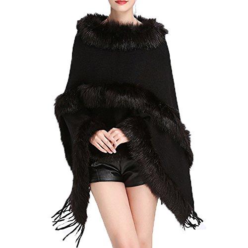 Poche Cardigan Manteau Pull Cardigan Femmes Fausse Lache Tricot Tide Chale Grand Fourrure Black FOLOBE Code wZCUnvq4nx