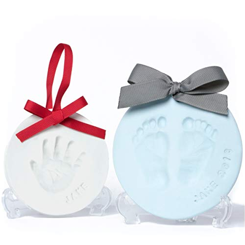 Baby Leon Footprint Ornament Kit White Blue Clay Molds Paint Set Best Baby Shower Gift for Newborn Girls Boys New Mom Gift Registry Handprint Pet Paw Print Keepsake Safe Air Dry Clay