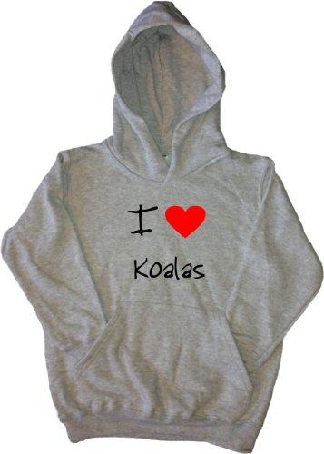 I Love Heart Koalas Grey Kids Hoodie (Black print)-7-8 Years
