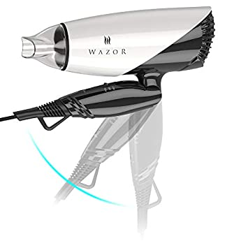 WAZOR 1875W Powerful Folding Handle Dual Voltage 125V-250V Household Travel Hair Dryer,2 Speed Heat Settings and Cool Shot Button,Ionic DC motor Blow Dryer Black White