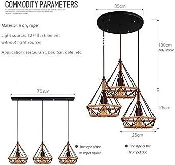 Lustre en corde de chanvre//lampe dart en fer//lustre en diamant//lustre cage doiseau//bar restaurant lumi/ère//triangle lustre r/étro cr/éatif 45cm