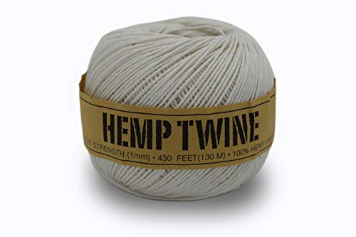 100% Hemp Twine Ball 1MM, 100G/430 Ft. - 20 lb. Test Strength - White