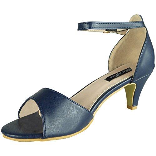Bride Party Ladies Blue 3 Sandals Loud Heel Look Womens Peeptoe 8 Wedding Bridesmaid Shoes Mid Size xw4Yav0w