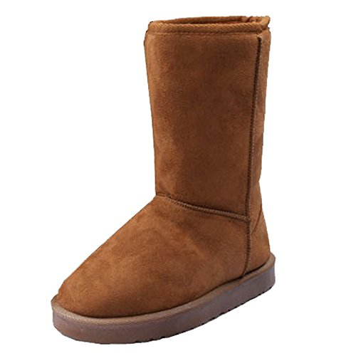 Middle Size Ladies Boots Yellow Warm Suede Snowy Women tube Wotefusi 8 Winter Pair New Shoes Cylinder Mid Autumn Thicken Snow Girls US A7nSw