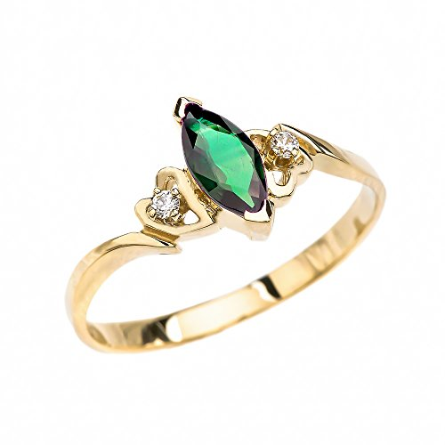 Green Diamond Solitaire (10k Yellow Gold Diamonds And Solitaire Marquise Green CZ Engagement Proposal Ring (Size)