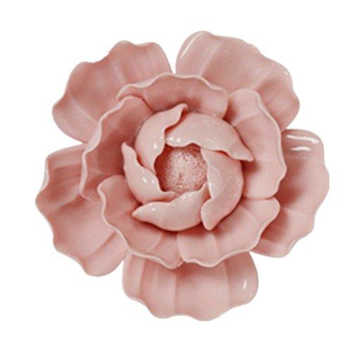 Handmade Ceramic Flowers Three-dimensional TV Sofa Background Wall Decorations Creative Living Room Ornaments (M, Pink) -