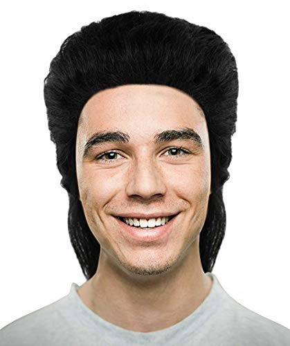 Halloween Party Online 80s Mullet Wig, Black Adult HM-365A -