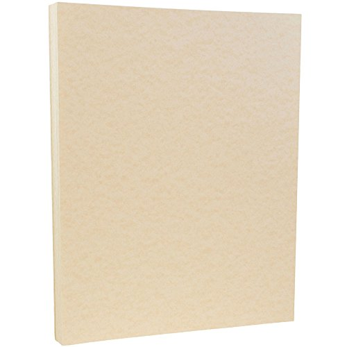 JAM PAPER Parchment 65lb Cardstock - 8.5 x 11 Coverstock - Natural Recycled - 50 - Recycled Ivory Stationery