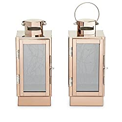 Rose Gold Flameless Lanterns, 30 Fairy LEDs, Coppe