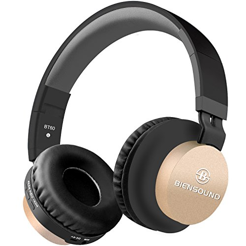 Bluetooth Headphones, Biensound BT60 Lightweight Foldable Headphones Wireless Bluetooth Headset with Microphone and Volume Control for iPad iPhone TV Laptop Computer Headphones (Black&Gold)