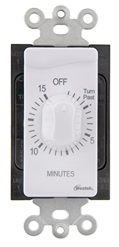 Westek TMSW15MW Hardwire Indoor In-Wall 15 Minute Mechanical Countdown Timer, White 15 Minute Time Switch
