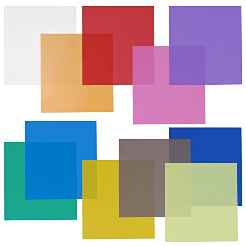 Neewer 12x12 Transparent Color Gel Filter Set Pack of 11 Sheets for Photo Studio Strobe Flashlight(Green, Blue, Purple, Pink, Red, Light Gray, Dark Gray, Yellow, Beige, Fresh Green, Acid Blue)
