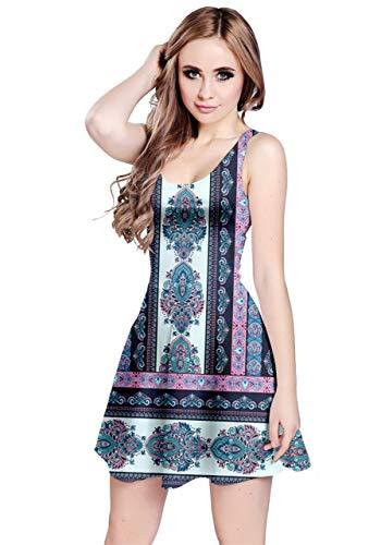 CowCow Womens Ethnic Seamless Sky Blue Navajo Pattern Sleeveless Dress - XS