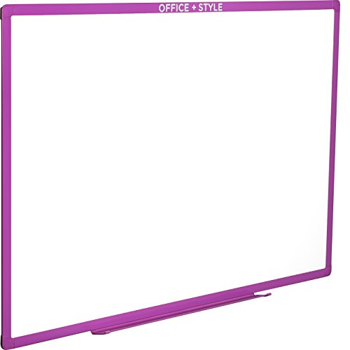 rase Board Wall Mounted Durable Aluminum Frame, 24x36 Inches, with Pen Tray, Purple, by Office + Style ()