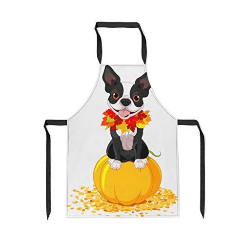 Pinbeam Apron Dog Boston Terrier Sits on Pumpkin Halloween Cartoon with Adjustable Neck for Cooking Baking -